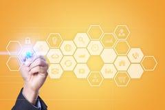 Interface d'écran virtuel avec des icônes d'applications Concept de technologie d'Internet Image stock