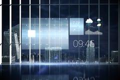 Interface d'hologramme dans la ville de négligence de bureau Photo stock