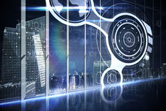 Interface d'hologramme dans la ville de négligence de bureau Images libres de droits