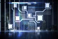 Interface d'hologramme dans la ville de négligence de bureau Image libre de droits