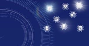 Interface d'icônes de l'Internet des choses au-dessus du fond bleu illustration de vecteur