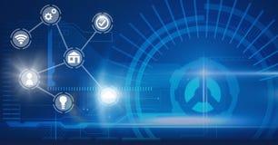Interface d'icônes de l'Internet des choses au-dessus du fond bleu illustration stock