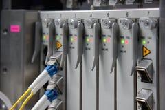 Interface de connecteur optique de fibre pour le telec de l'équipement DWDM de cartes Images libres de droits