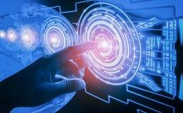 Interface de contact de doigt, impliquant la technologie et la conception futuristes très modernes, de l'humanité innovatrice, cr photo stock