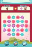 Interface de jeu du match trois avec des fleurs Image stock