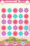Interface de jeu du match trois avec des fleurs Photo stock