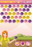 Interface de jeu de tireur de bulle avec la bonification et le caractère Image stock