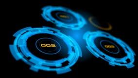 Interface de utilizador abstrata azul do painel de controle da tecnologia avançada Imagens de Stock