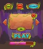 Interface de utilizador de madeira do jogo dos desenhos animados ilustração royalty free