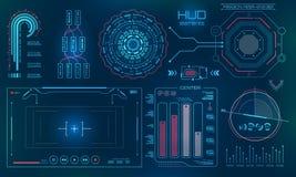 Interface de utilizador futurista, HUD, fundo da tecnologia de FUI ilustração royalty free