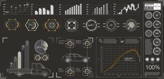 Interface de utilizador futurista HUD UI Interface de utilizador gráfica virtual abstrata do toque Carros infographic Sumário da  ilustração do vetor
