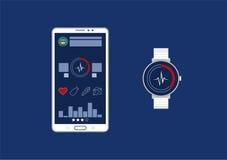 Interface de utilizador gráfica do app do perseguidor da aptidão para o smartwatch e o smartphone Fotografia de Stock Royalty Free