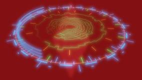 Interface de utilizador gráfica, linhas em um fundo vermelho, rendição 3d Foto de Stock