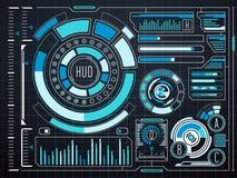 Interface de utilizador gráfica virtual futurista HUD do toque da ficção científica ilustração stock