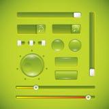 Interface de utilizador, teclas e botões verdes Fotos de Stock