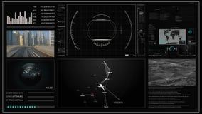 Interface de utilizador virtual HUD do toque do conceito futuro com um mapa do mundo, os gráficos, o holograma e o plexo ilustração royalty free