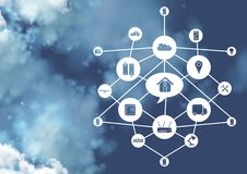 Interface design of connectivity icons in cloud computing concept. Against clouds in the background Royalty Free Stock Photography