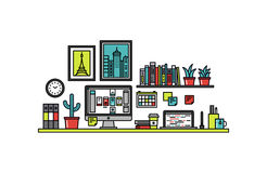 Interface designer desk line style illustration. Thin line flat design of user interface designer desk, UI and UX developer workplace with desktop computer and Stock Photos