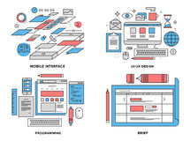 Interface development flat line illustration Stock Images