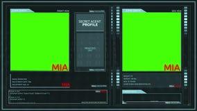 Interface effective futuriste générique de profil d'agent secret d'écran vert - mia illustration stock