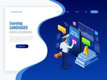 Interface en ligne isométrique de connaissance des langues et concept de enseignement Mode de vie en ligne d'école de langues rés Photographie stock libre de droits