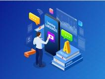 Interface en ligne isométrique de connaissance des langues et concept de enseignement Mode de vie en ligne d'école de langues rés Photographie stock