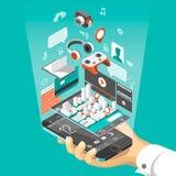 Interface futée isométrique de téléphone Écran avec différents apps et icônes Carte sur l'application mobile Image libre de droits