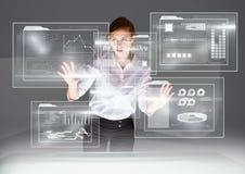 interface futuriste de pièce avec la table, jeune femme illustration stock
