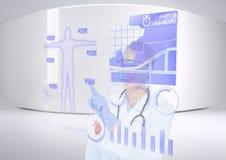 interface futuriste de pièce médical heureux avec son interface illustration de vecteur
