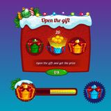 Interface game design. Christmas gifts and progress bar Stock Image
