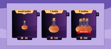 Interface game design resource includes game bottles of different sizes with elixirs and other herbal potions resource icon for mo Royalty Free Stock Image
