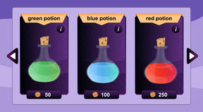 Interface game design resource includes game bottles of elixirs and other herbal potions resource icon for mobile and online game. Royalty Free Stock Photo