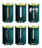 Interface game design resource includes game weapons from various metal materials and resource icon for mobile and online game. Pl stock illustration