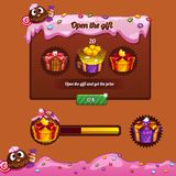 Interface game design theme candy. Gifts and progress bar for the game interface Royalty Free Stock Image