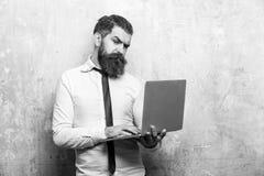 Interface gestionnaire homme ou hippie barbu avec le long travail de barbe sur l'ordinateur portable photos libres de droits