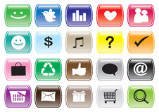 Interface Icon Set and Buttons for Social Media Networking Royalty Free Stock Photos