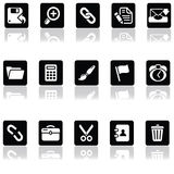 Interface icons. A set of fifteen interface icons with shadows Royalty Free Stock Photography