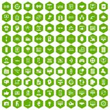 100 interface icons hexagon green. 100 interface icons set in green hexagon isolated vector illustration Royalty Free Stock Photo