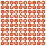 100 interface icons hexagon orange. 100 interface icons set in orange hexagon isolated vector illustration Stock Photography