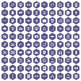 100 interface icons hexagon purple. 100 interface icons set in purple hexagon isolated vector illustration royalty free illustration