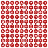 100 interface icons hexagon red. 100 interface icons set in red hexagon isolated vector illustration Stock Photo