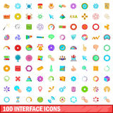 100 interface icons set, cartoon style. 100 interface icons set in cartoon style for any design vector illustration Stock Photos