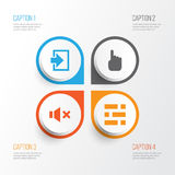 Interface Icons Set. Collection Of Cursor, Entrance, Silence And Other Elements. Also Includes Symbols Such As In, Mute Royalty Free Stock Images