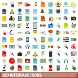 100 interface icons set, flat style Stock Image