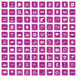100 interface icons set grunge pink. 100 interface icons set in grunge style pink color isolated on white background vector illustration Royalty Free Stock Image