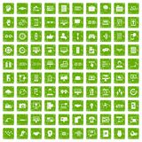 100 interface icons set grunge green. 100 interface icons set in grunge style green color isolated on white background vector illustration Royalty Free Stock Photography