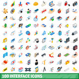 100 interface icons set, isometric 3d style Royalty Free Stock Image