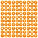 100 interface icons set orange. 100 interface icons set in orange circle isolated on white vector illustration royalty free illustration