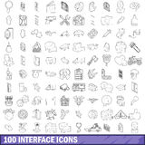 100 interface icons set, outline style Stock Images