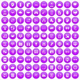100 interface icons set purple. 100 interface icons set in purple circle isolated on white vector illustration Royalty Free Stock Image